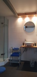 Bathroom, with shower, in a guest-room in Besse
