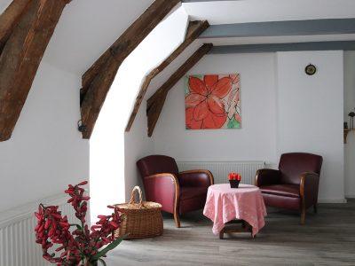 Espace salon avec table et fauteuils chambre Stella