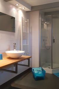 Bathroom of Delyza room, with shower, in guest-room